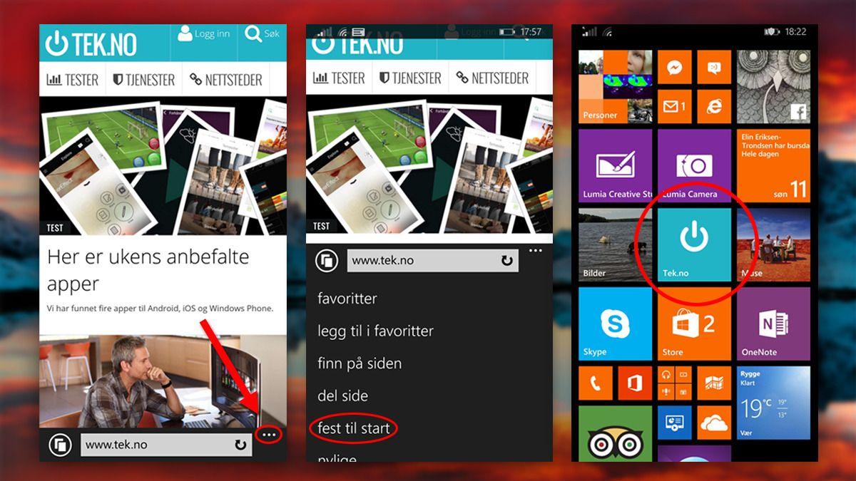 Windows Phone har det enkleste oppsettet, men til gjengjeld må du bruke Internet Explorer og får ikke lov til å velge navn på snarveien. Foto: Microsoft/Skjermdump fra mobil/Tek.no, montasje