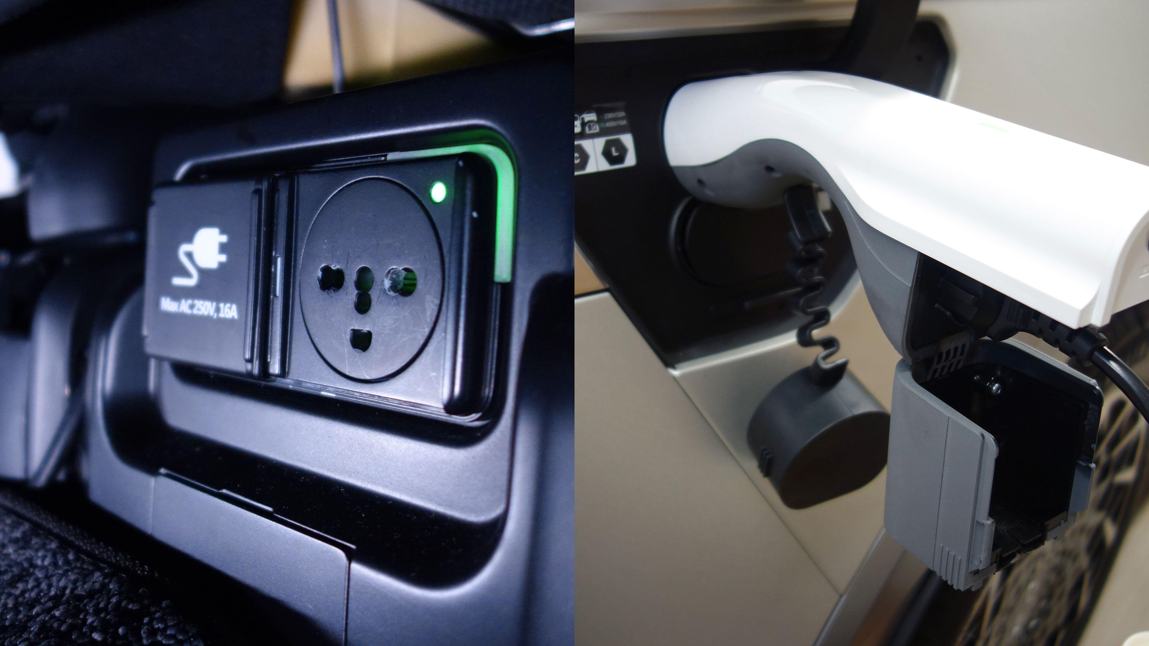 Til venstre strømuttaket under baksetet. Til høyre adapterløsningen for å bruke ladeporten som stikkontakt.