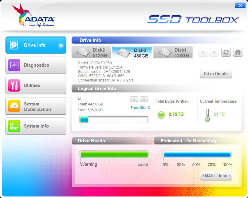 Adatas SSD Toolbox.