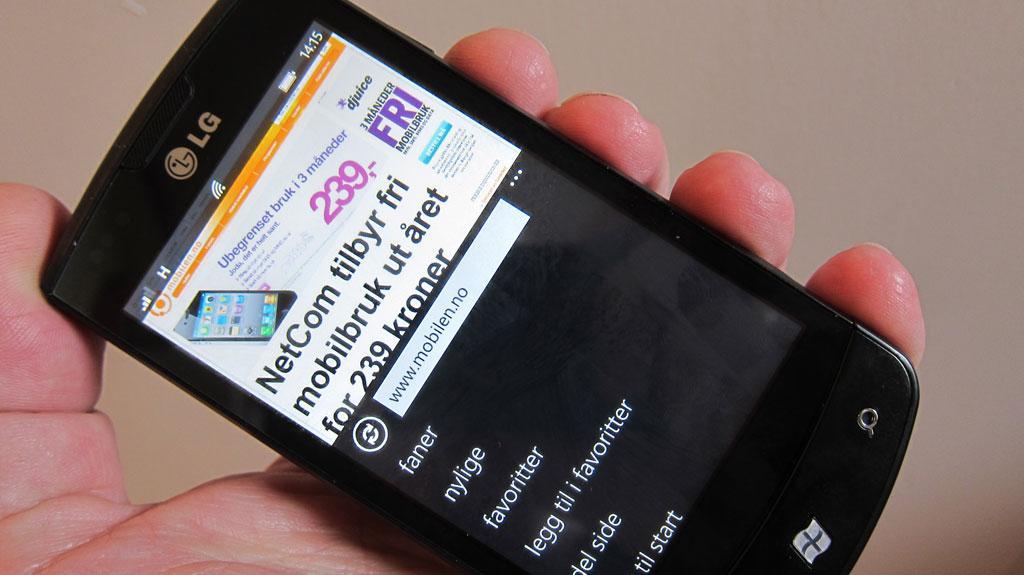 Slik ser nettleseren i nye Windows Phone ut.