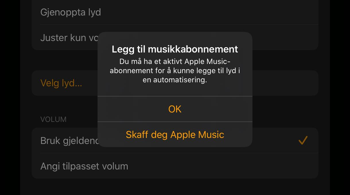 Vil du at HomeKit skal spille av lyd? Da må du ha et Apple Music-abonnement.
