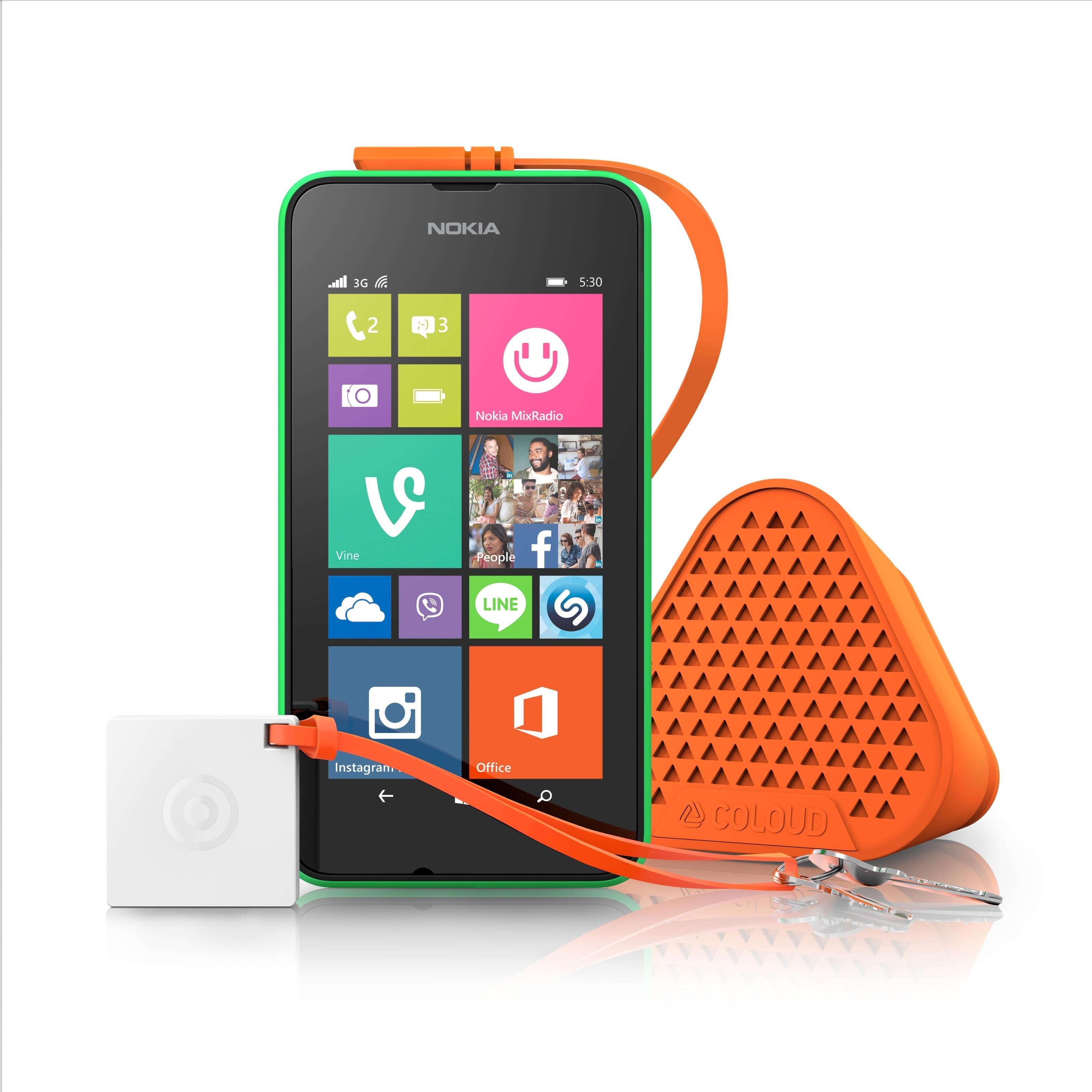 I tillegg til Lumia 530 lanserte Microsoft også minihøyttaleren Bang by Coloud.Foto: Microsoft