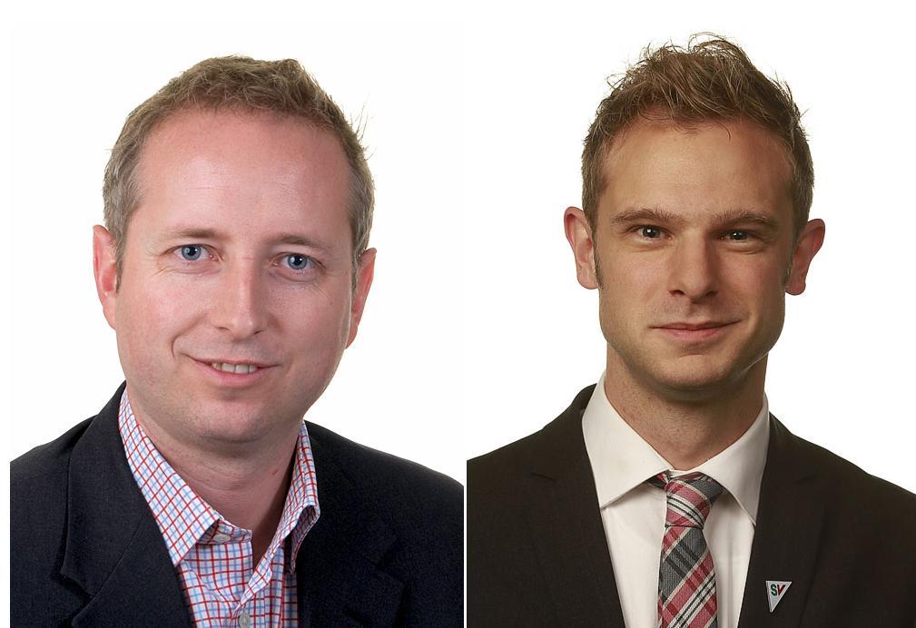 Bård Vegar Solhjell (t.v.) og Snorre Valen mener Snowden fortjener Nobels fredspris.Foto: Stortinget