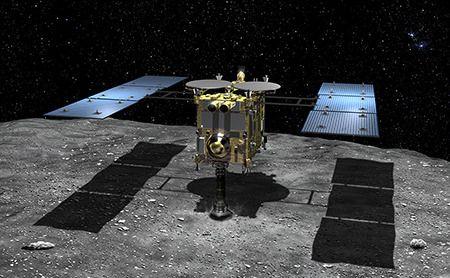 Slik forestiller JAXA seg at det ser ut når Hayabusa2 borer seg inn i asteroiden.Foto: JAXA