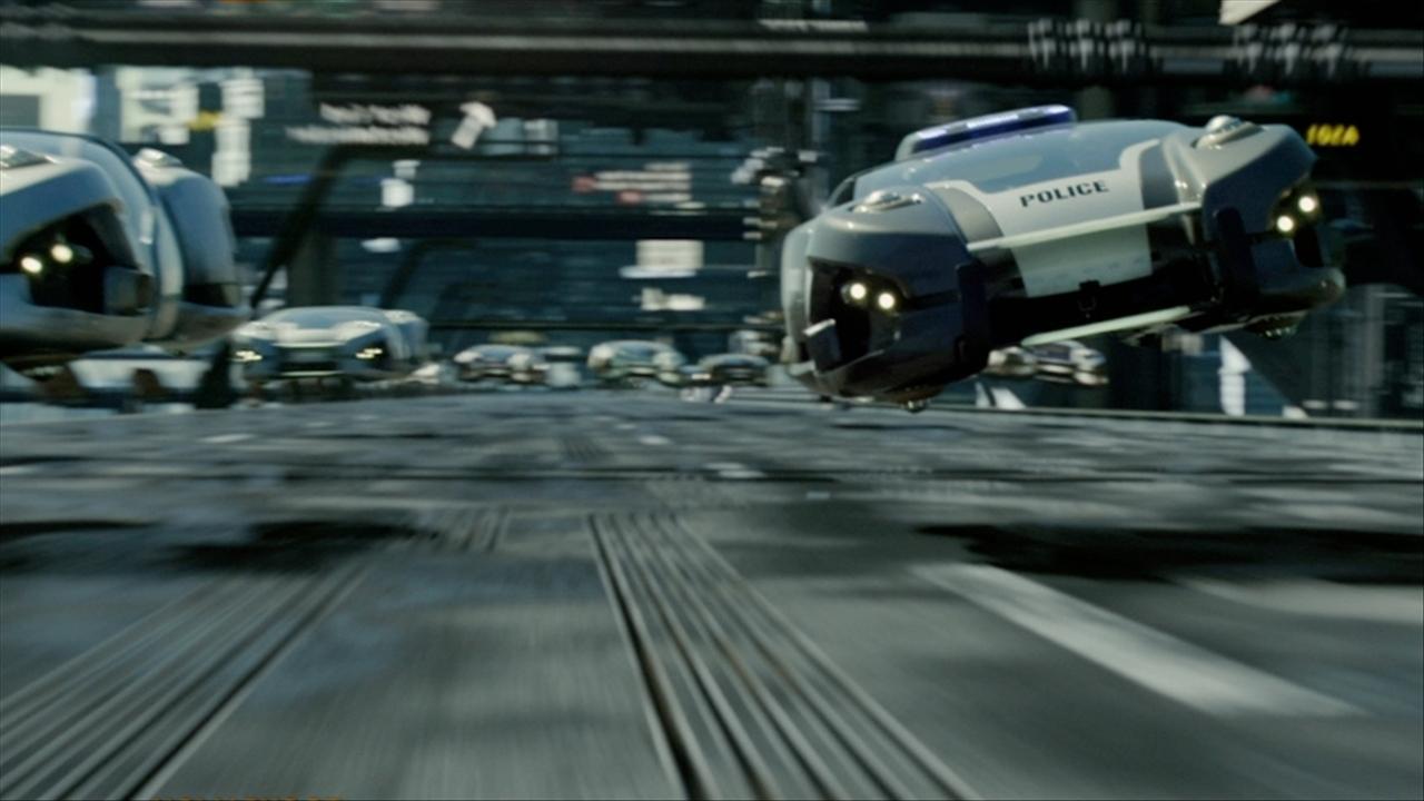 Flyvebiler så du i filmen Total Recall. Foto: skjermbilde