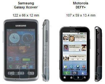 Samsung Galaxy Xcover (til venstre) er den store og litt enkle tremeningen til Motorola Defy.