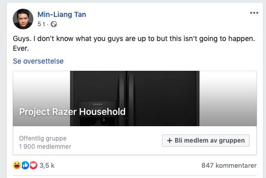 En ny gruppe har oppstått på Facebook som ønsker seg Razer-kjøleskap og andre husholdningsartikler.