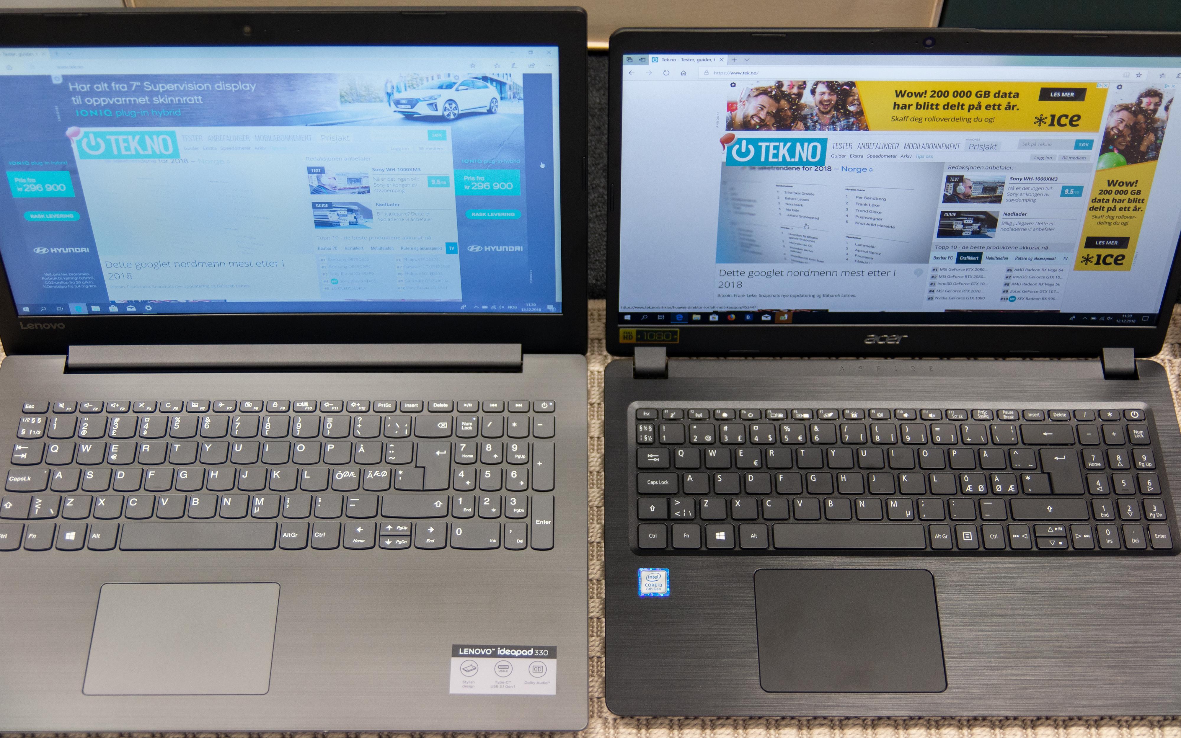Her ser du hvor stor forskjell det er på TN-panelet til Lenovos IdeaPad (og Asus' VivoBook) og IPS-panelet til Acers Aspire når du ikke sitter helt rett og direkte overfor skjermen.