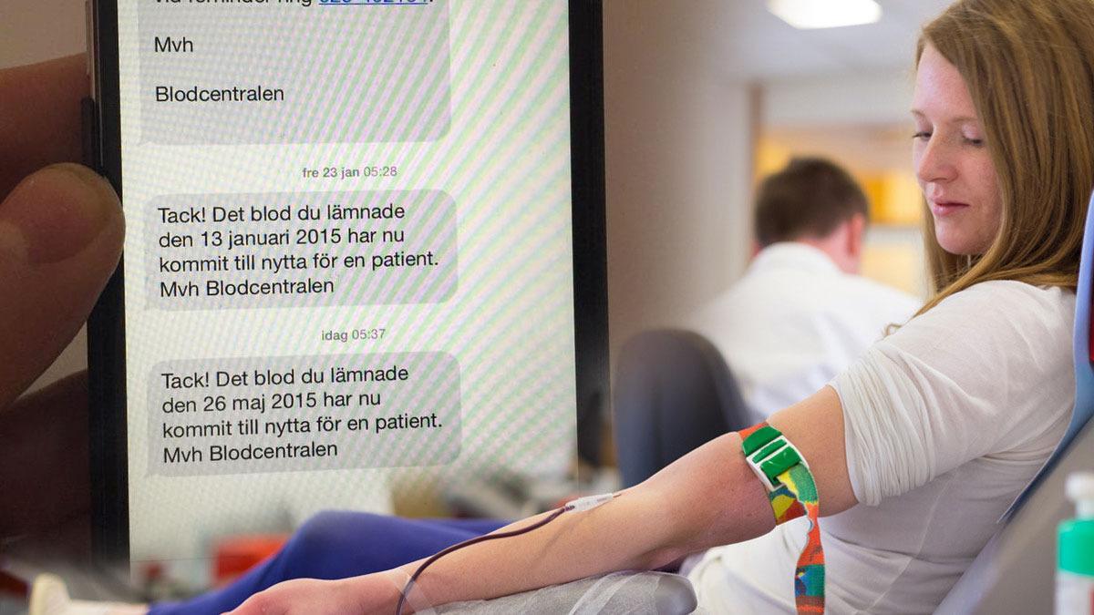 Blodgivere i Sverige får SMS når blodet blir brukt