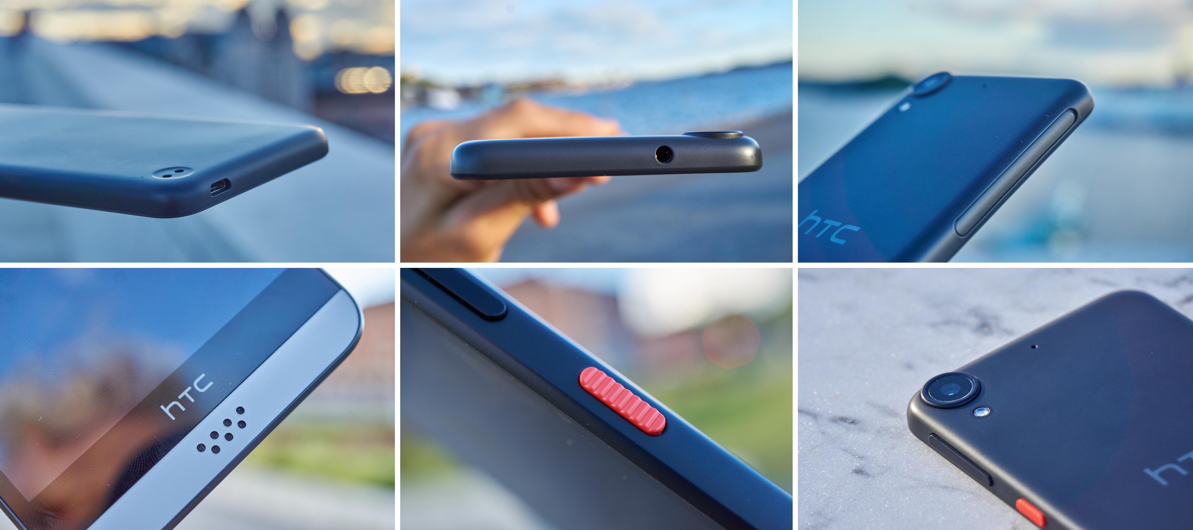 Designet på Desire 530 er ganske lekkert og særegent. Den ruglete, røde knappen liker vi veldig godt, og også den tykke metallringen rundt kameraet.
