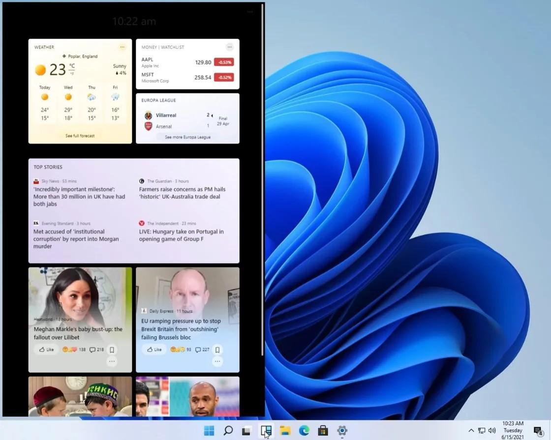 Slik skal widgetsene, eller småprogrammene, være organisert. Et vindu som rommer alle de små informasjonssankerne spretter opp over resten av menysystemet.