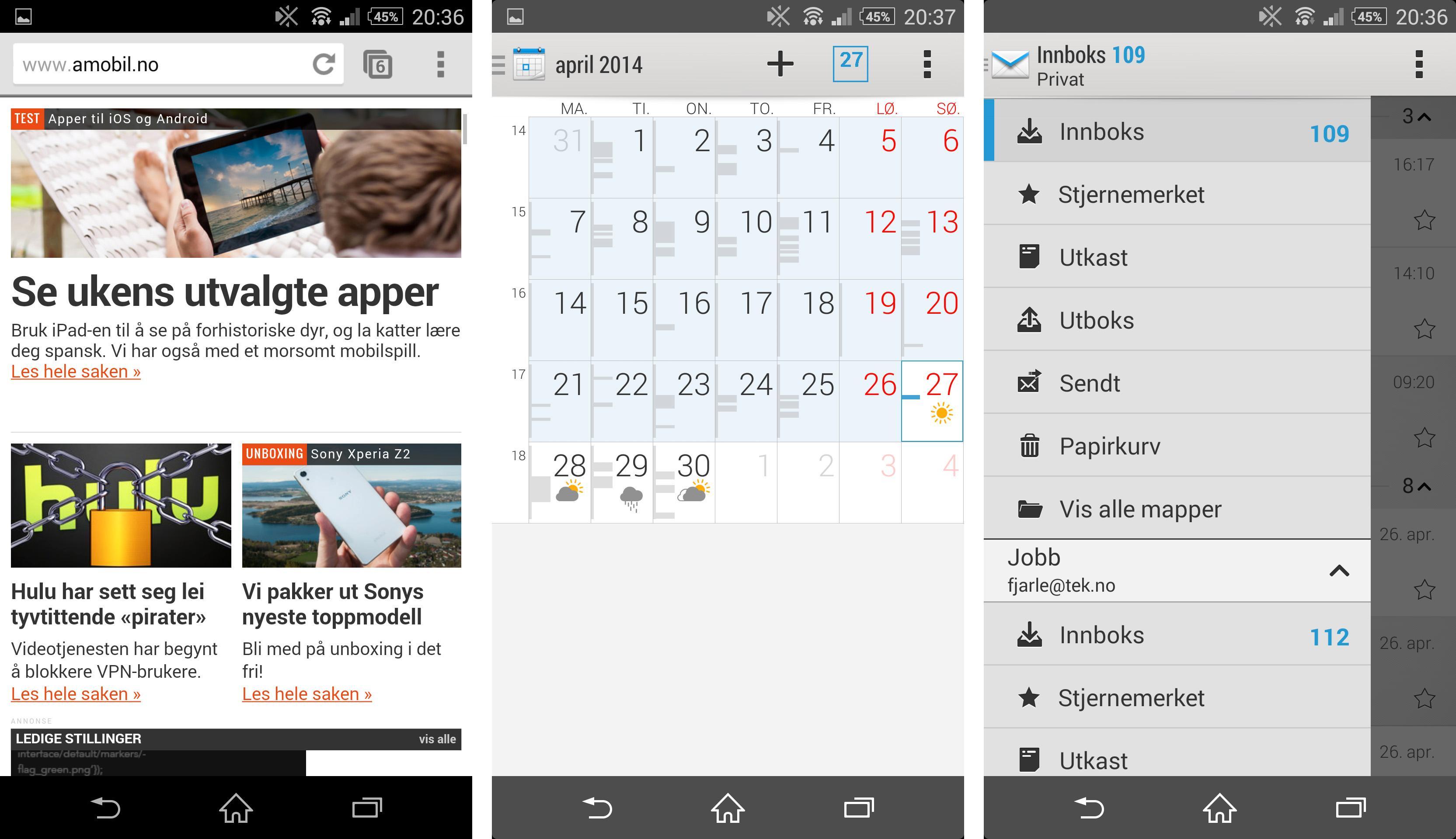 Xperia Z2 har en kjapp og god nettleser, og mange smarte løsninger i både e-postleseren og kalenderfunksjonen.Foto: Finn Jarle Kvalheim, Amobil.no