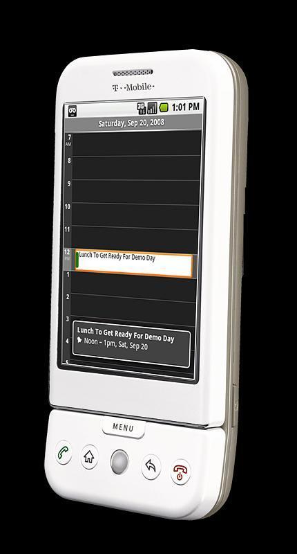 """T-mobile G1 er ikke spesielt liten. Den har en markant """"leppe"""" på bunnen."""