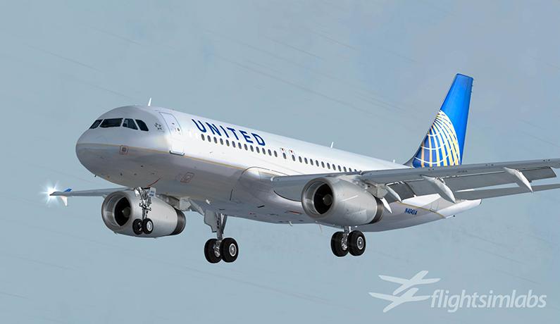 A320 i United-drakt i flysimulatoren Prepar3d.