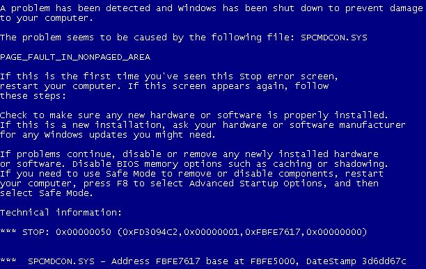 Blåskjermen i Windows XP. Foto: Wikimedia.