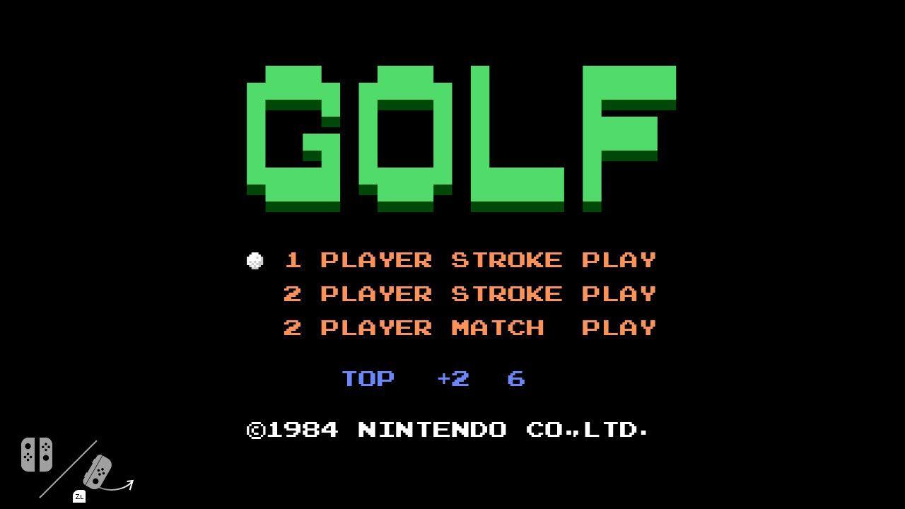 Hovedskjermen til Golf-spillet som er gjemt inne i Nintendo Switch-koden.