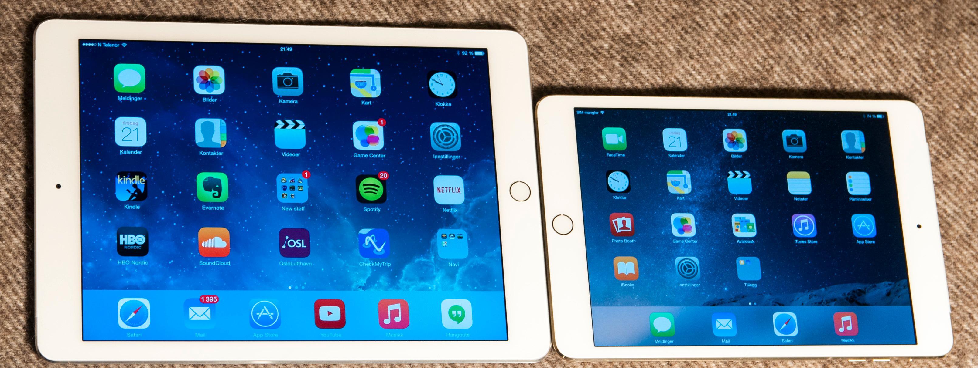 iPad Air 2 er det eneste virkelig nye nettbrettet fra Apple i år. iPad Mini 3 er i praksis forrige utgave med Touch ID-sensor lagt til.Foto: Finn Jarle Kvalheim, Tek.no