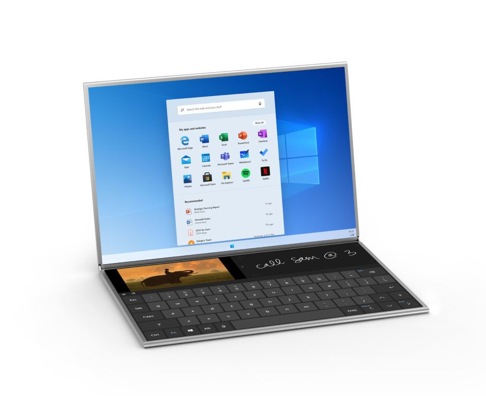 Maskinen vil skjønne at du har plassert tastaturet oppå, og tilpasse den nedre skjermen deretter.
