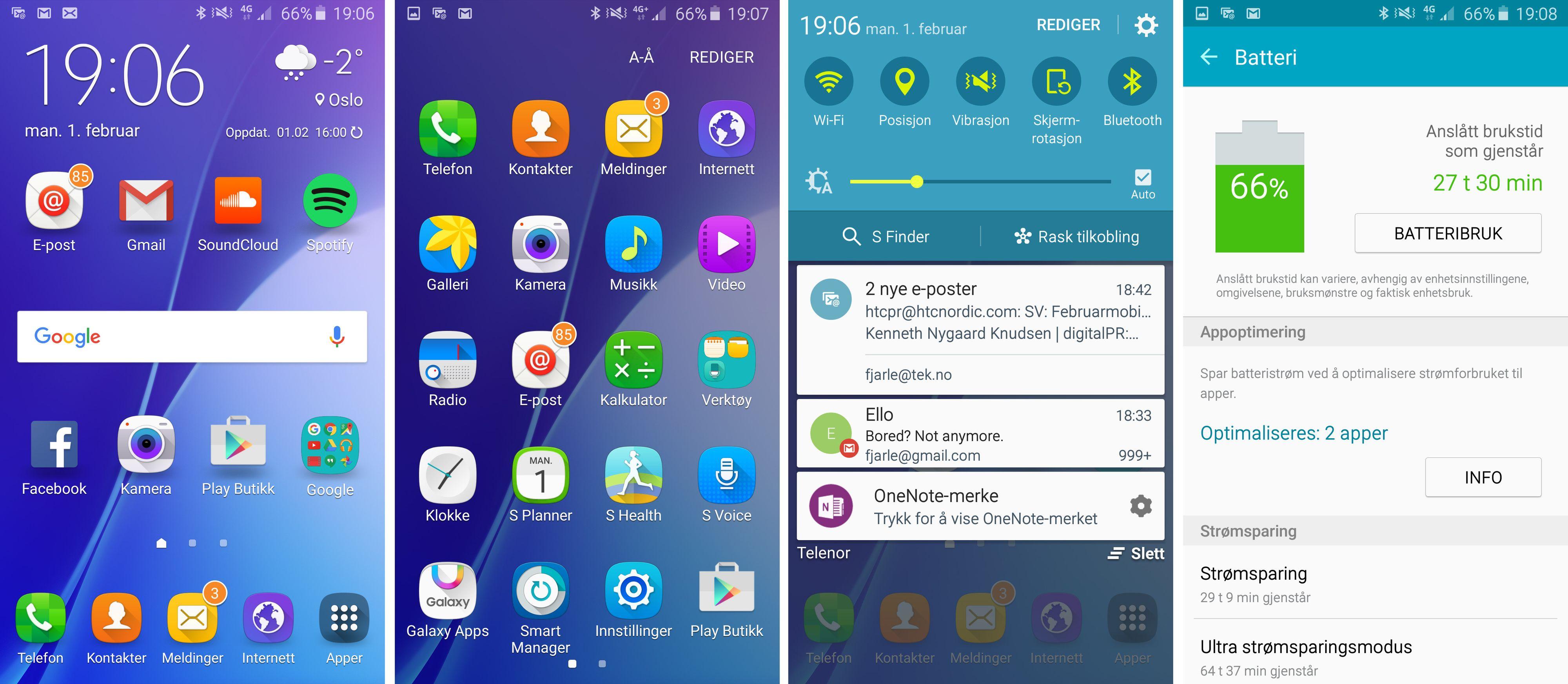 Det er enkelt å finne frem i Galaxy A5-menyene, og telefonen byr på god batteritid.