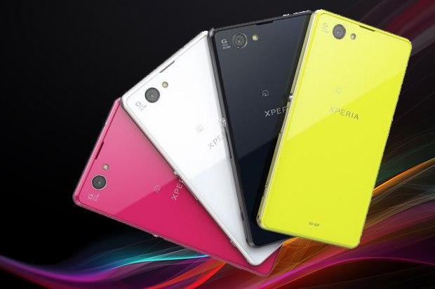 Sony Xperia Z1F, også kjent som Z1 Mini, kommer i rosa, hvitt, sort, og limegrønt. Den er vanntett, som Z1 og Z Ultra.