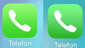 Grønnfargen på ikonene er litt mindre skrikende (iOS 7.1 til høyre).
