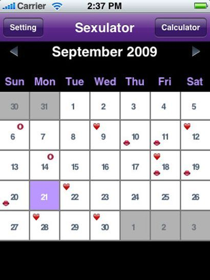 HOLDER DEG OPPDATERT: Appen har en fin kalender som gir deg full oversikt over dine seksuelle krumspring. Om det er mulig å lagre «vanlige» avtaler i kalenderen vites ikke.Foto: iTunes