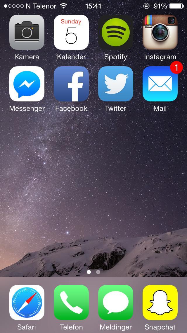 Halvparten av appene forumbrukeren Borgemeister har på hjemskjermen er fra Apple. Likevel har han prioritert Spotify over iTunes.