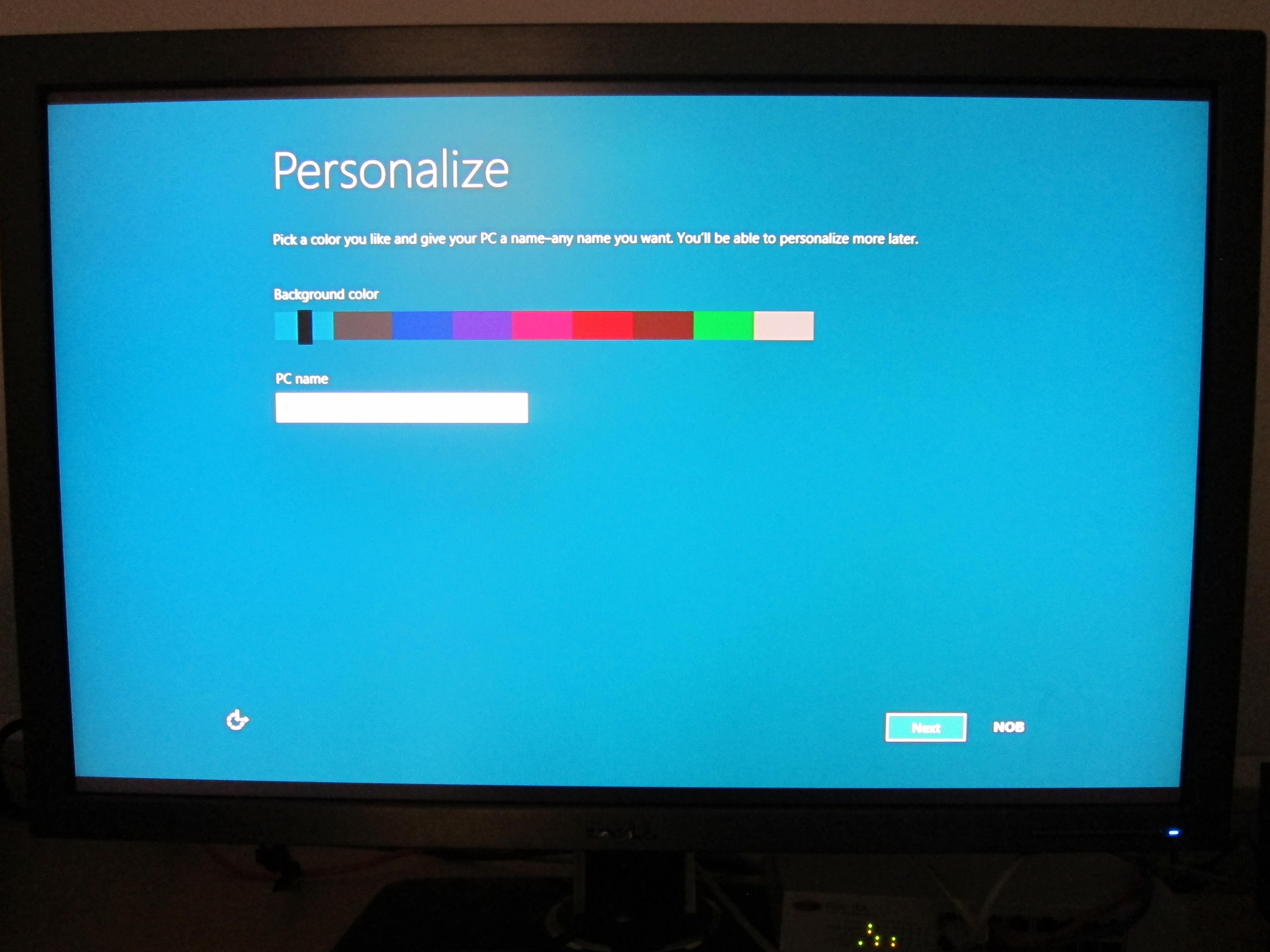 Når du har installert Windows 8 får du opp en rekke valg. Dette bildet er tatt fra en tidligere versjon av Windows 8, og i den endelige versjonen er fargeutvalget mye bedre enn dette.