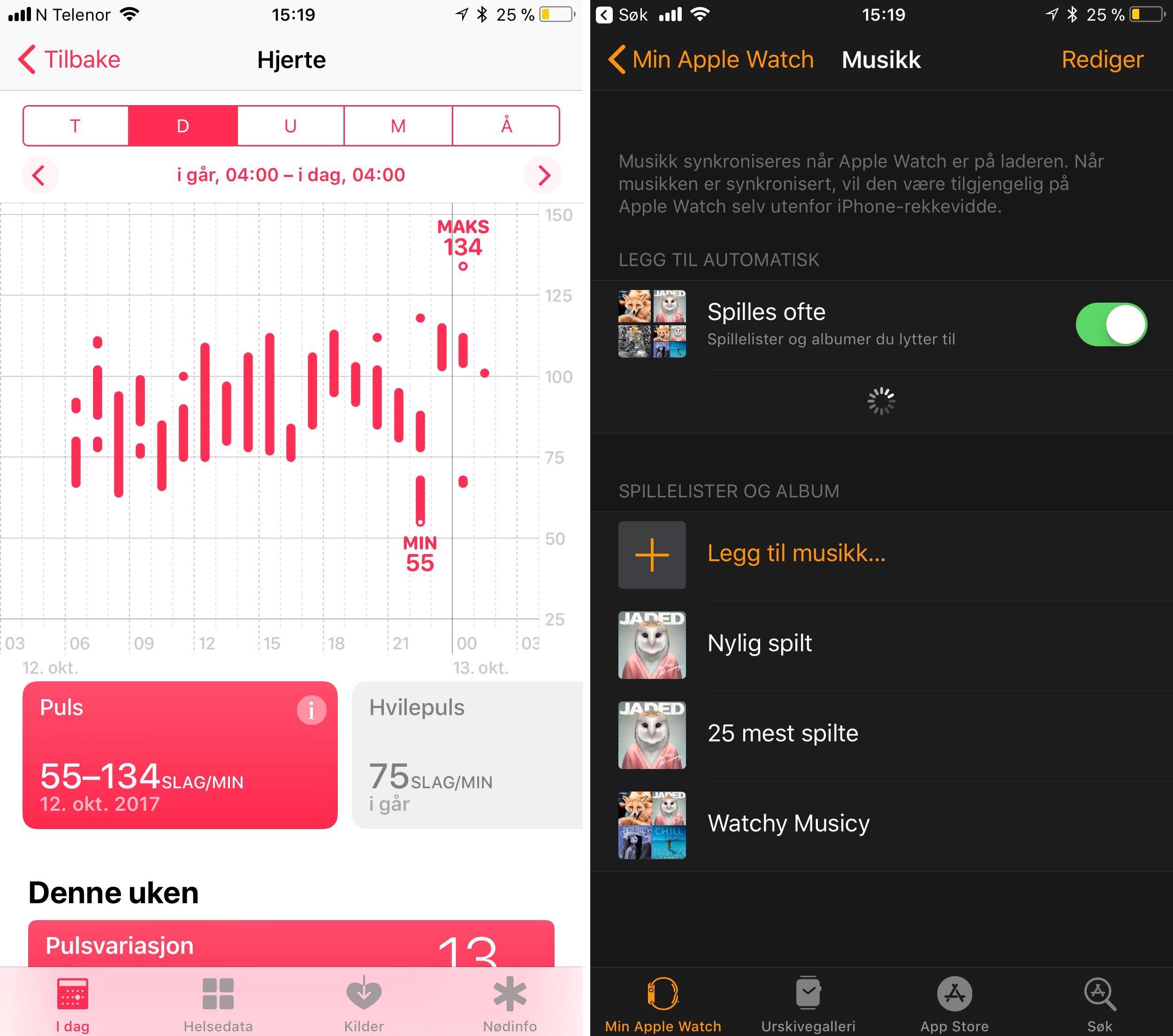 Apple Watch måler hjerteslag kontinuerlig gjennom dagen. Her har den fått en kjempelang arbeidsdag inkludert løpeturer for å rekke fly å jobbe med. Til høyre er menyen som lar deg overføre musikk til klokken. Denne er fortsatt litt kronglete, men over tid kan klokken styre det meste selv.