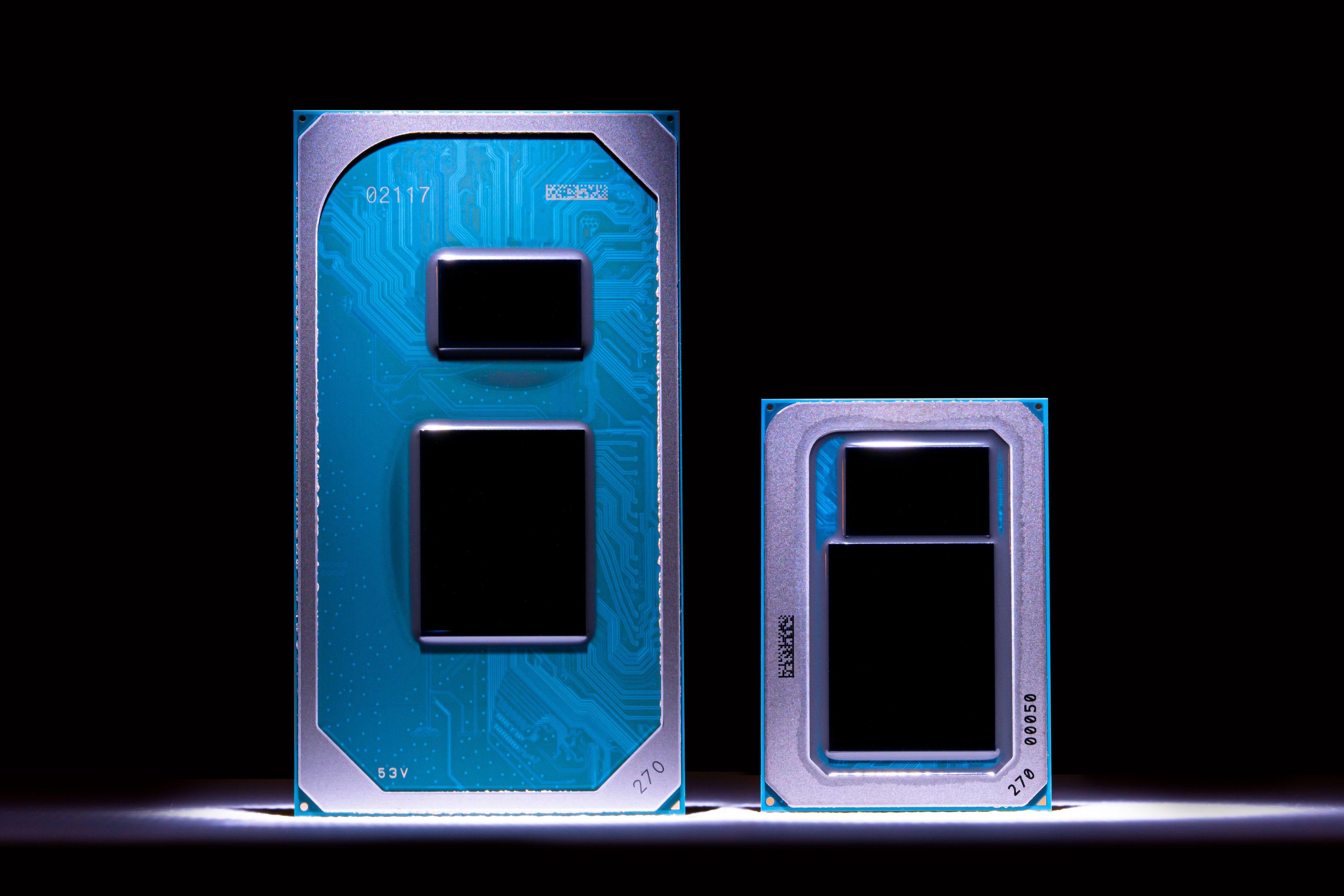 Intels Tiger Lake-prosessorer kommer i to innpakninger - en for svært små og tynne maskiner og en for litt større. Nytt er blant annet betydelig høyere turbofrekvenser.