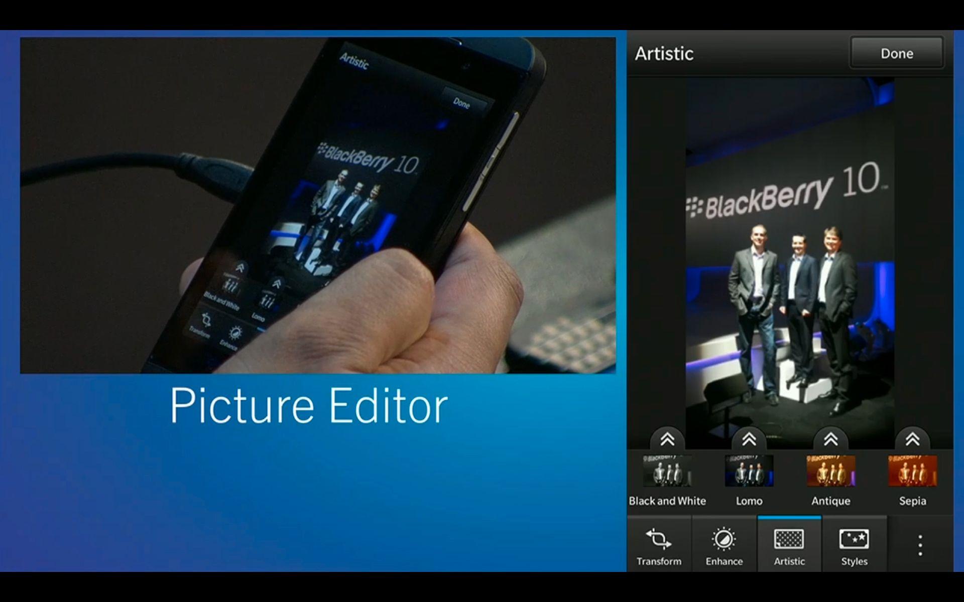 Hvis bildet trenger redigering har BlackBerry bygget inn det som ser ut til å være et kraftig verktøy for dette også.