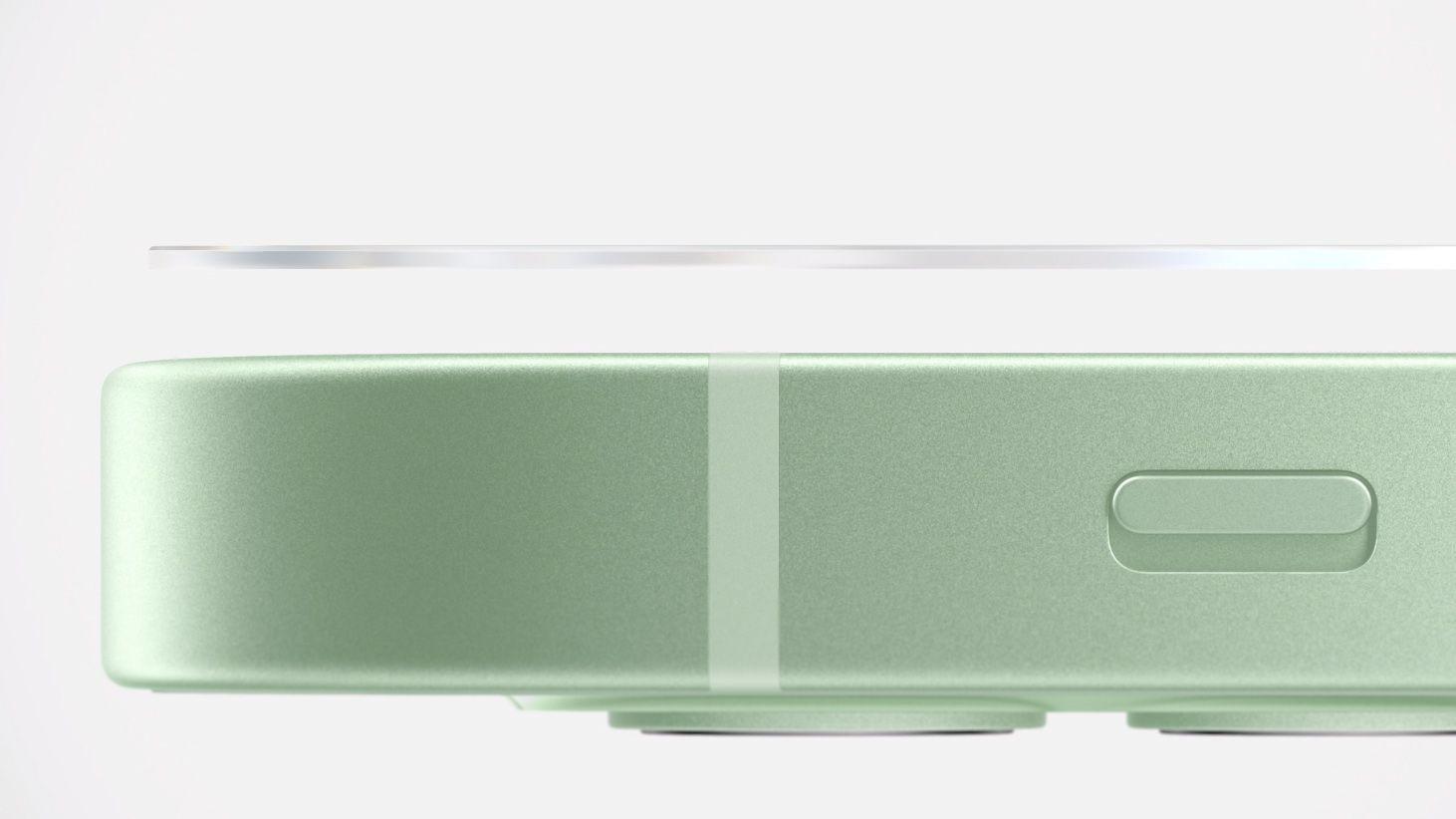 Apple har gått sammen med Corning og utviklet en ny glassteknologi de kaller Ceramic Shield. Den skal være fire ganger så motstandsdyktig mot fall. Legg også merke til den lekre nye grønnfargen.