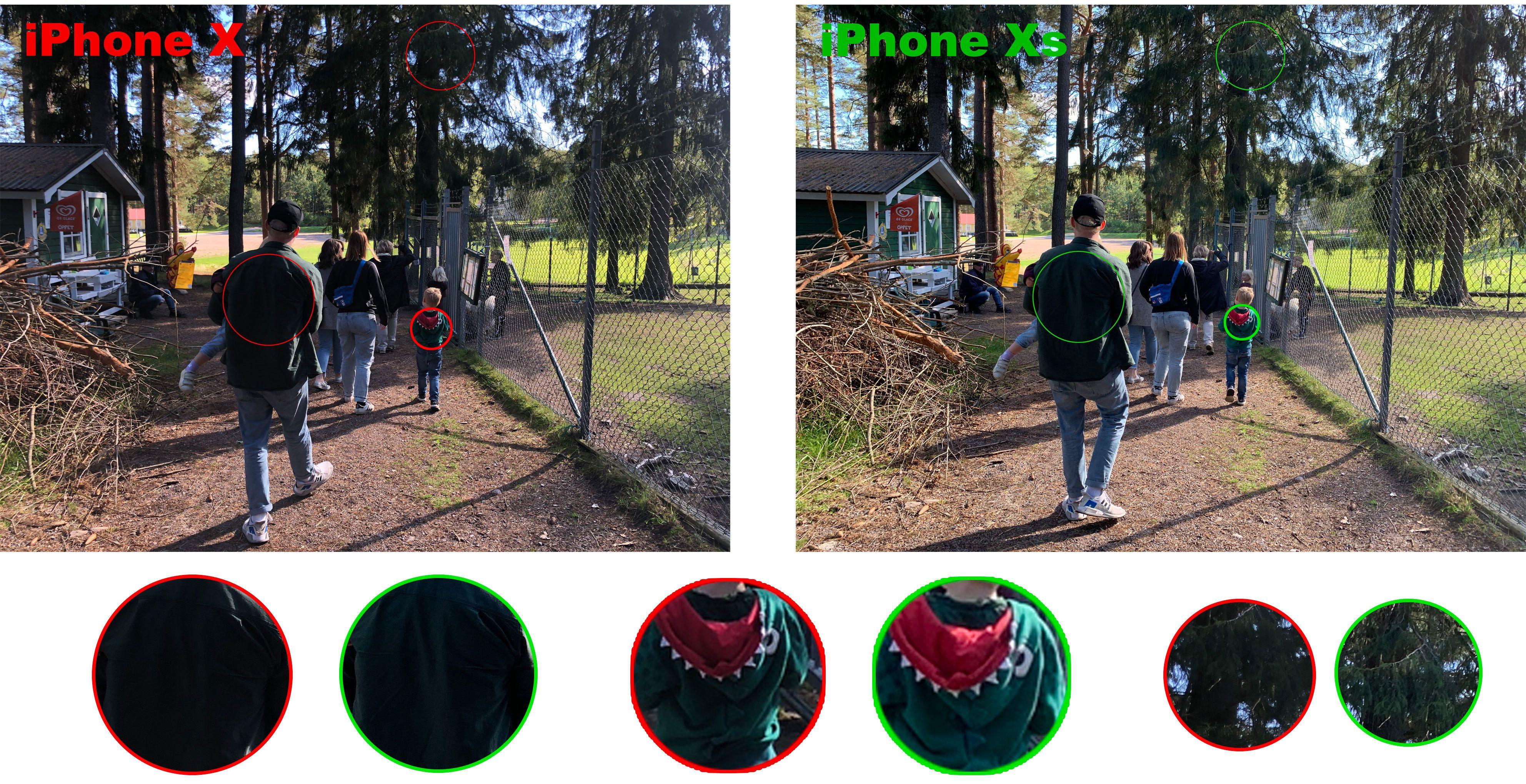 Her tok vi et bilde i gode lysforhold med både iPhone X og iPhone Xs. Selv om de ser ganske like ut ved første øyekast, ser men at iPhone Xs gjør det bedre på mørke detaljer.