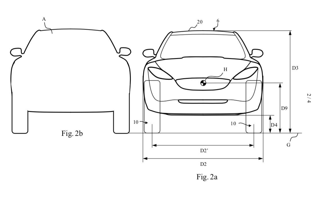 Høye, smale hjul skal gi bedre effektivitet enn hjulene dagens elbiler flest bruker, ifølge Dyson. Innsmalnet front vil også gi bedre aerodynamikk.