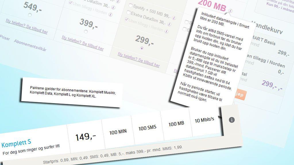Hos NetCom og Telenor er prisen per megabyte fortsatt på fem kroner med enkelte abonnement.Foto: Montasje V.Haugen