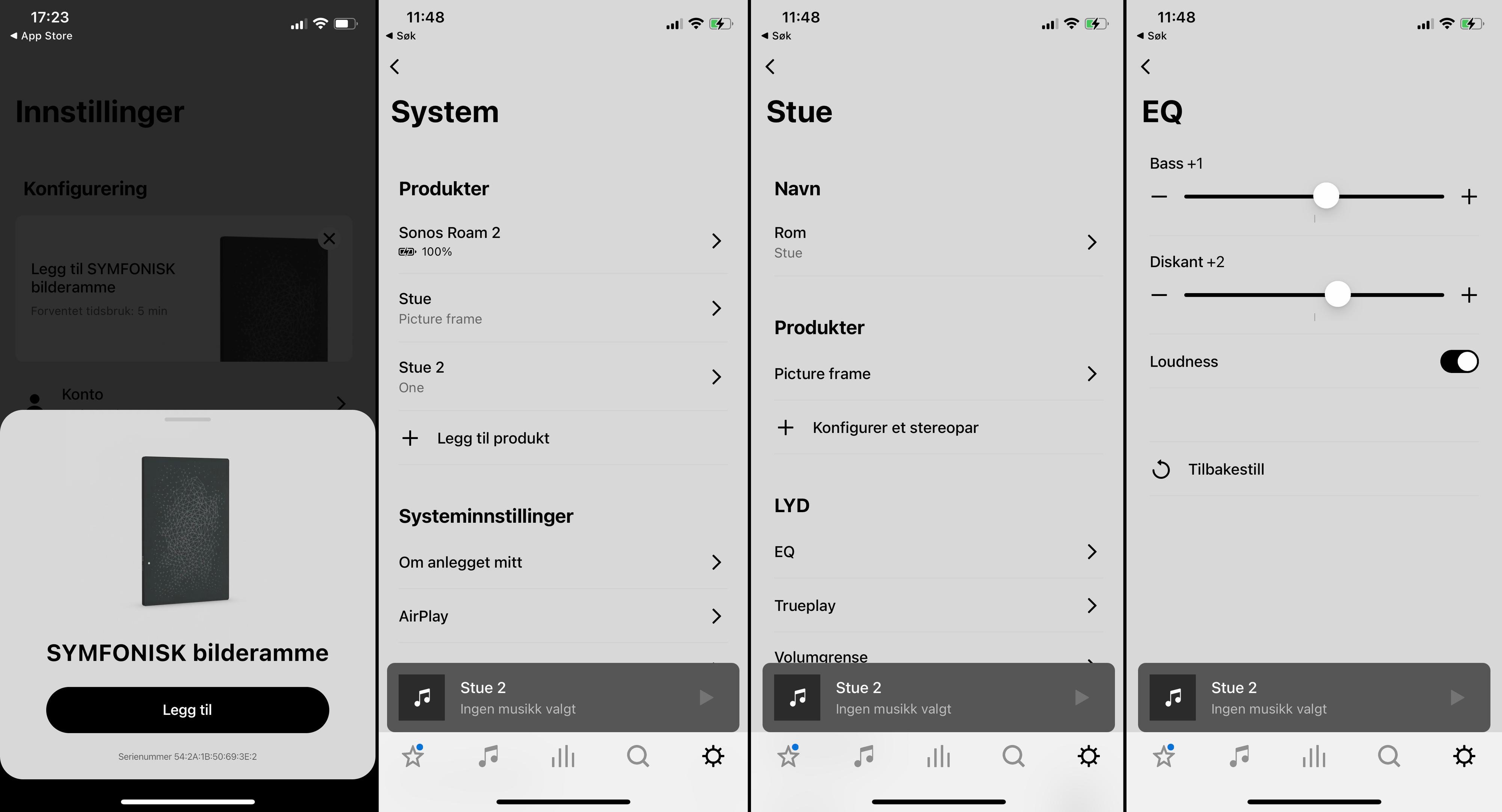 Sonos-appen er ganske velkjent. Det er kjekt at det spretter opp en tilkoblingsforespørsel så fort du plugger i strømmen.