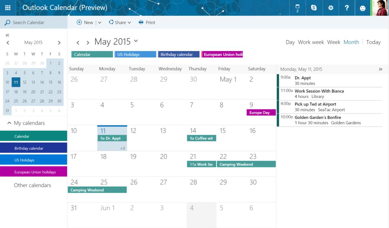 Nye Outlook.com får også bedre kalenderfunksjon. Foto: Microsoft