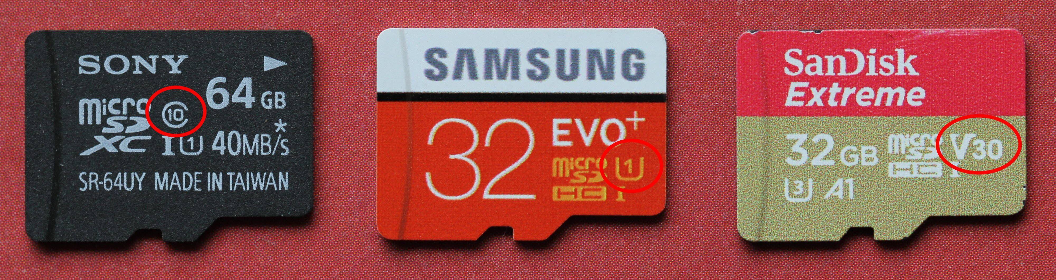 Her har vi ringet rundt merking for Speed Class, UHS Speed Class og Video Speed Class. Som vi ser er det ikke noe i veien for å merke minnekort innen flere klasser.