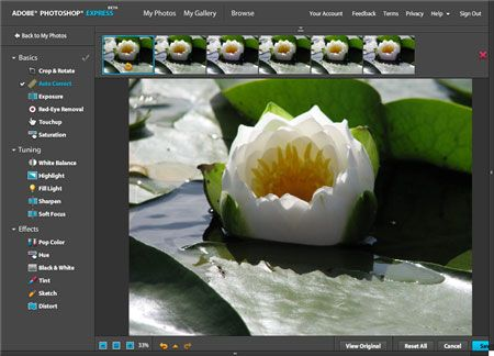 Photoshop Express er for de som ønsker å gjøre enkle justeringer for bildene sine. Foto: Skjermdump fra Adobe