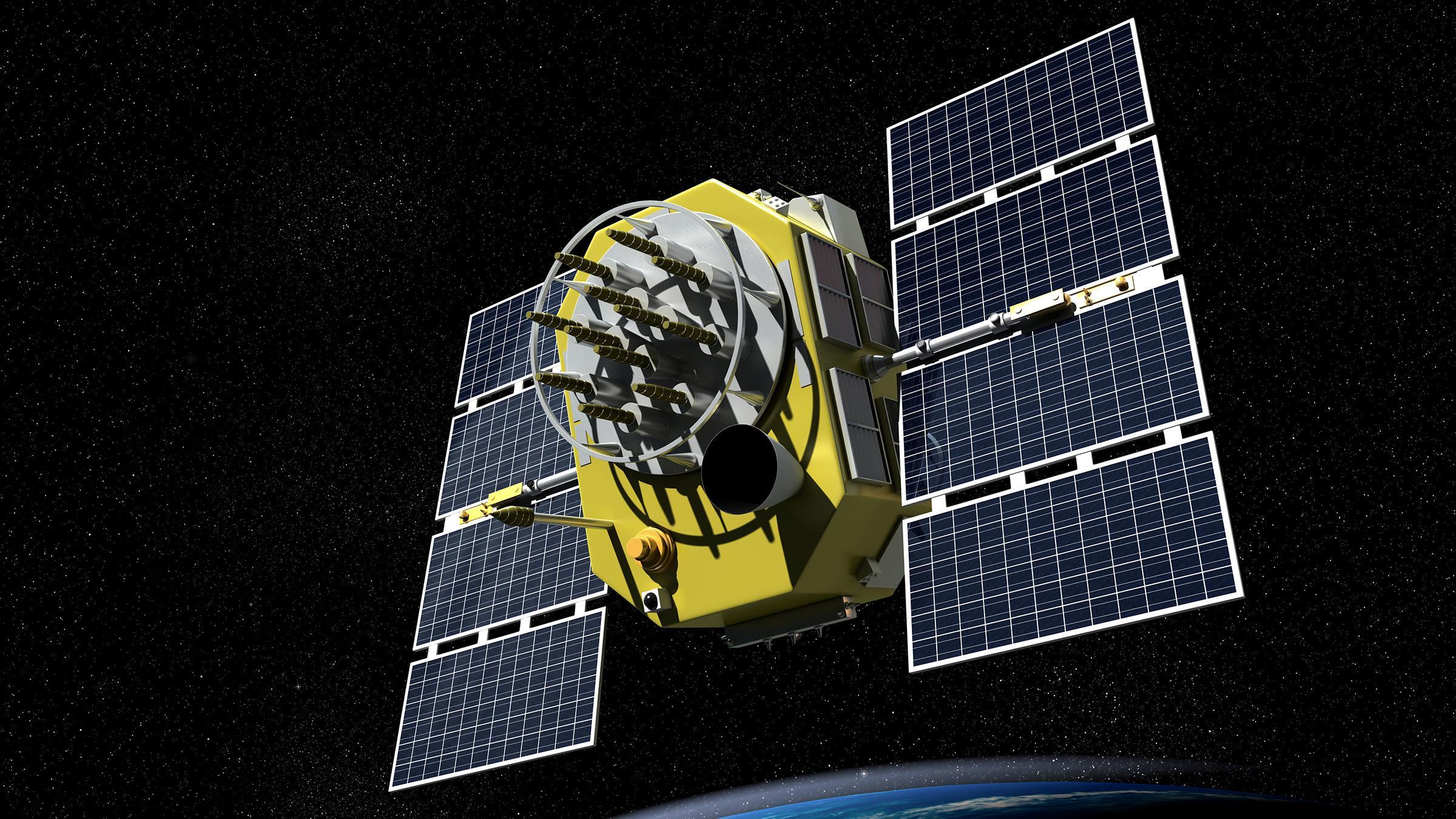 GPS-satelitter holder seg drøyt 20 000 km over jordoverflaten, og tar to runder rundt planeten hvert døgn.Foto: Shutterstock 126760505