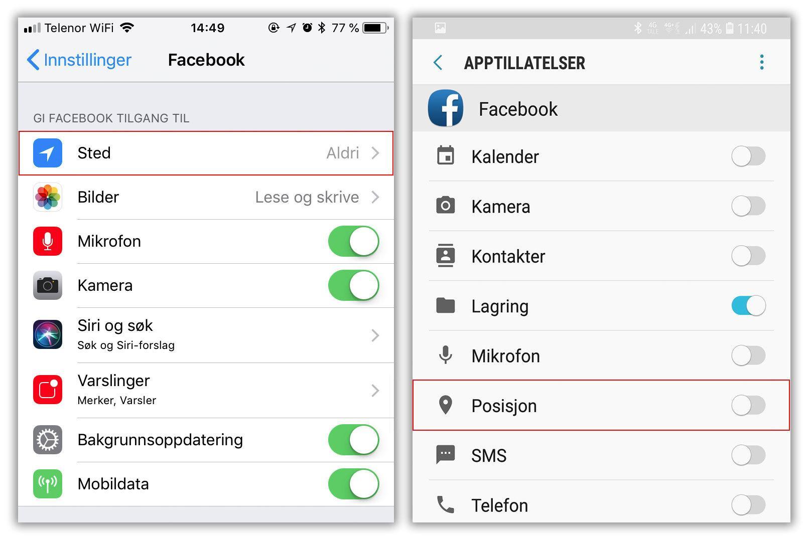 Det er ingen grunn til at Facebook skal vite hvor du er hele tiden, så du kan slå av stedstjenester for Facebook-appen.