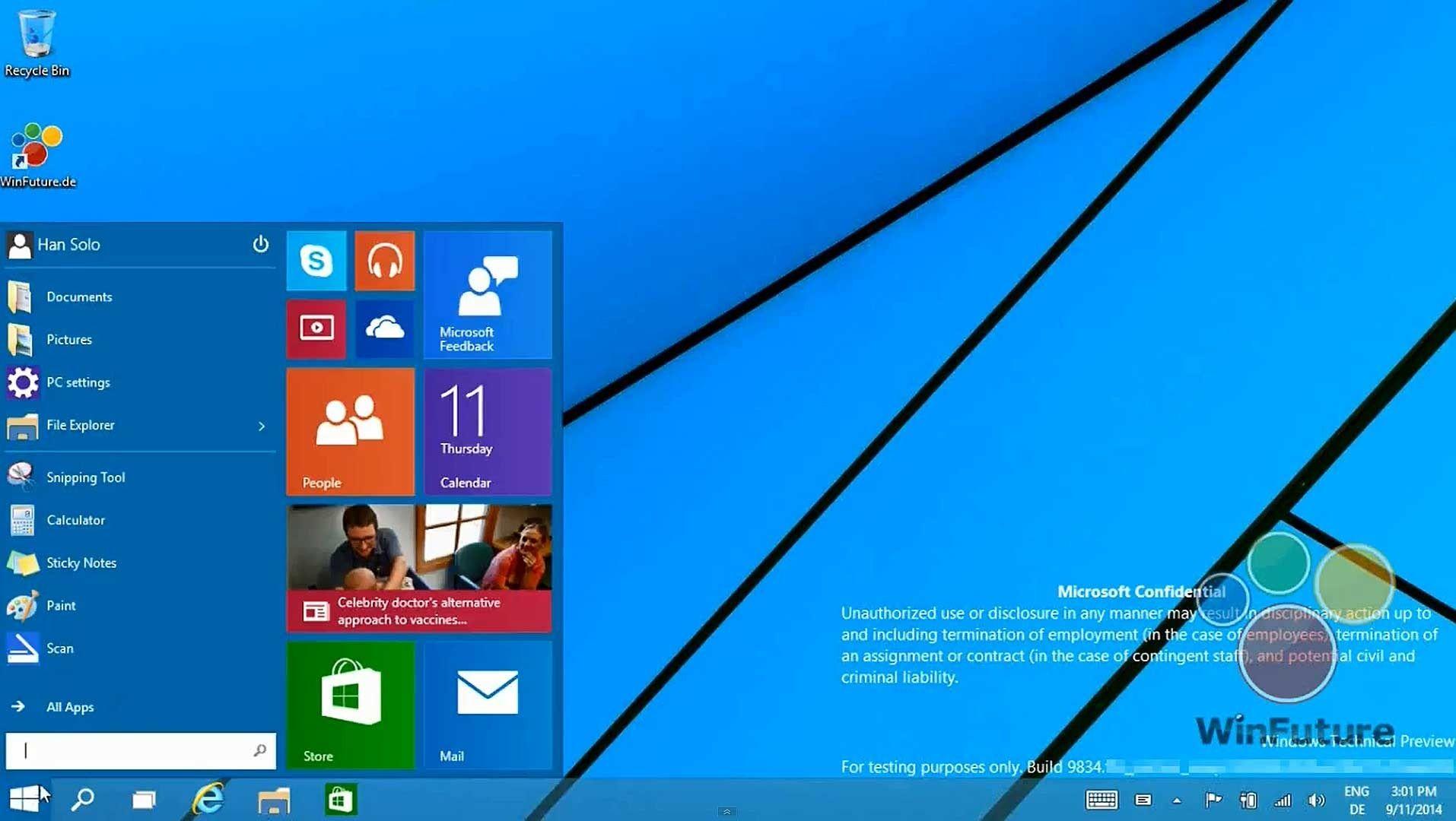 Startmenyen er tilbake i Windows 9, og den er delt i to. Den tradisjonelle menyen ligger på venstre side, mens flisveggen tar plass på den høyre. .Foto: Winfuture