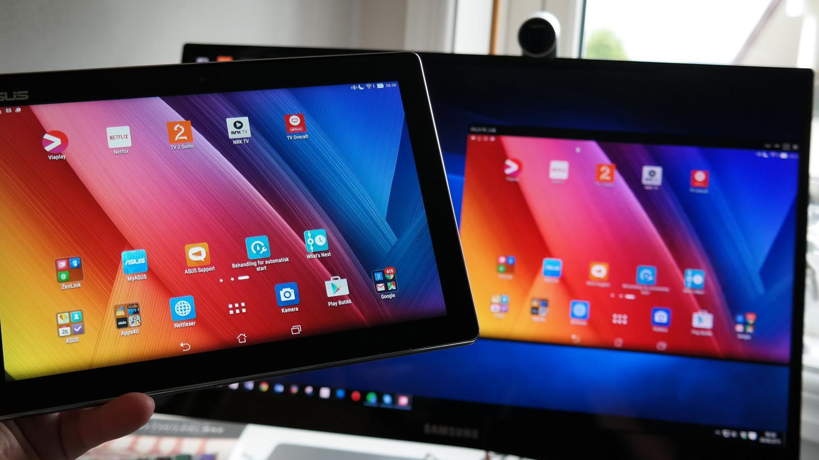 Med PC Link får du skjermbildet fra nettbrettet opp på PC-en, og kan betjene brettet med PC-ens mus og tastatur. Du kan også flytte filer med dra-og-slipp. Foto: Espen Irwing Swang, Tek.no