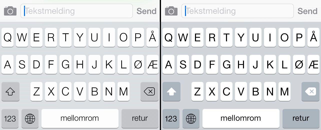 iOS 7-skjermtastaturet (til høyre) har fått litt tydeligere bokstaver, og nye taster for Shift og Tilbake.