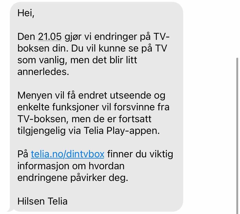 SMS-en Telia sendte kunder onsdag.