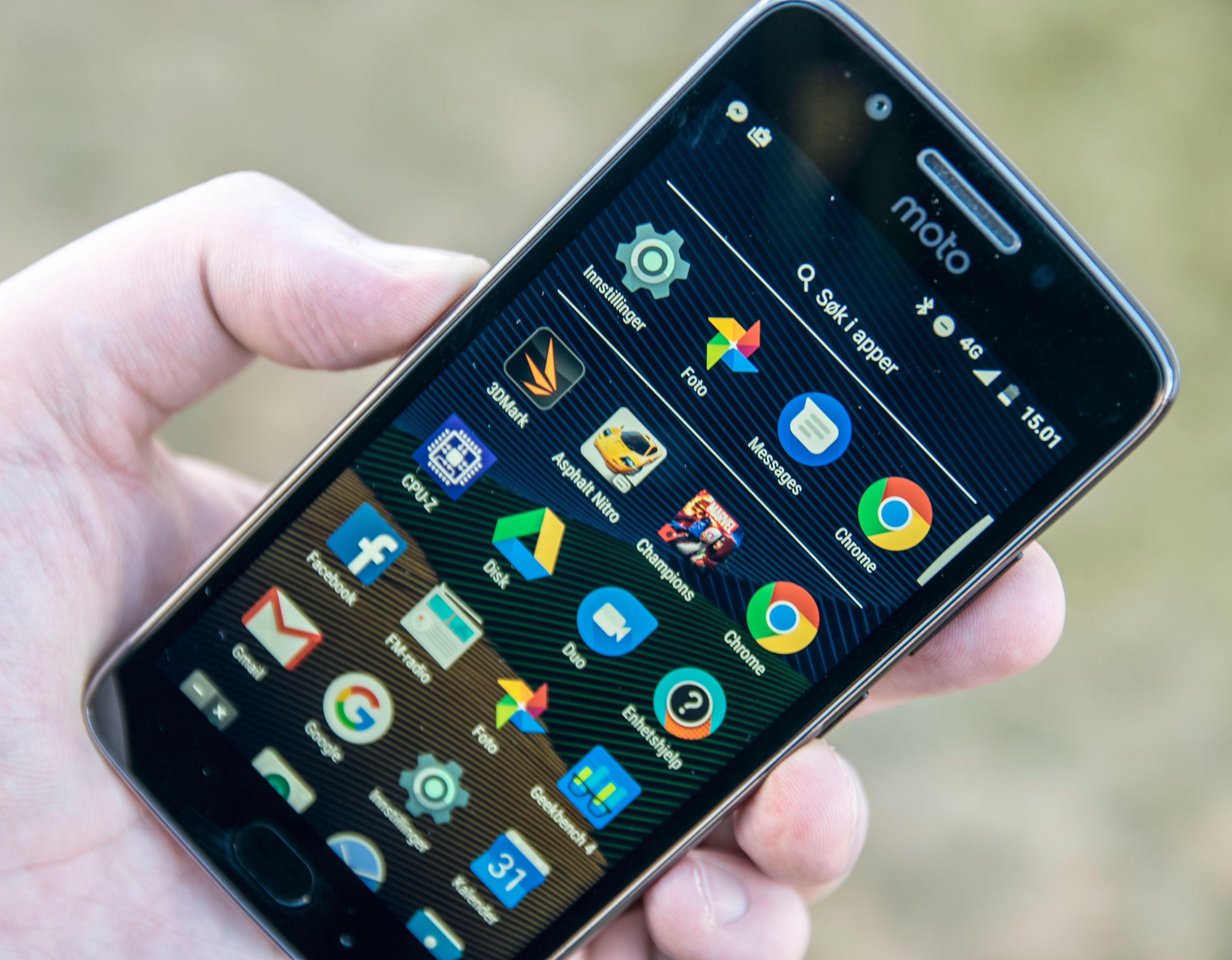 Så godt som ren Android rett fra Google pryder Moto G5. Dermed går det også ganske kjapt å bruke denne telefonen.