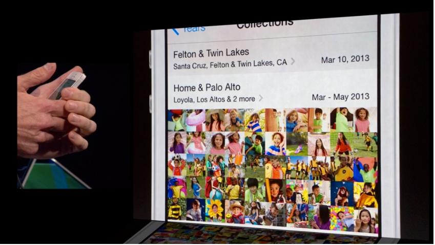 """Den nye bildeappen organiserer automatisk bildene dine, hvor du kan """"zoome"""" ut for å se bildene som passer sammen."""