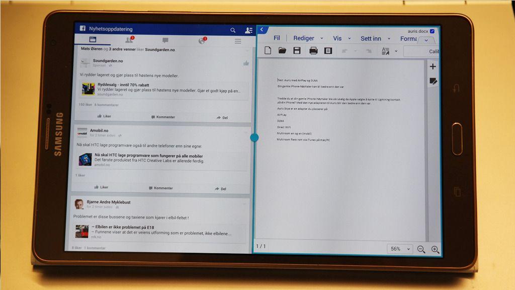 Du kan kjøre to apper samtidig. Her har vi åpnet Facebook og tekstbehandling (Hancom Office).