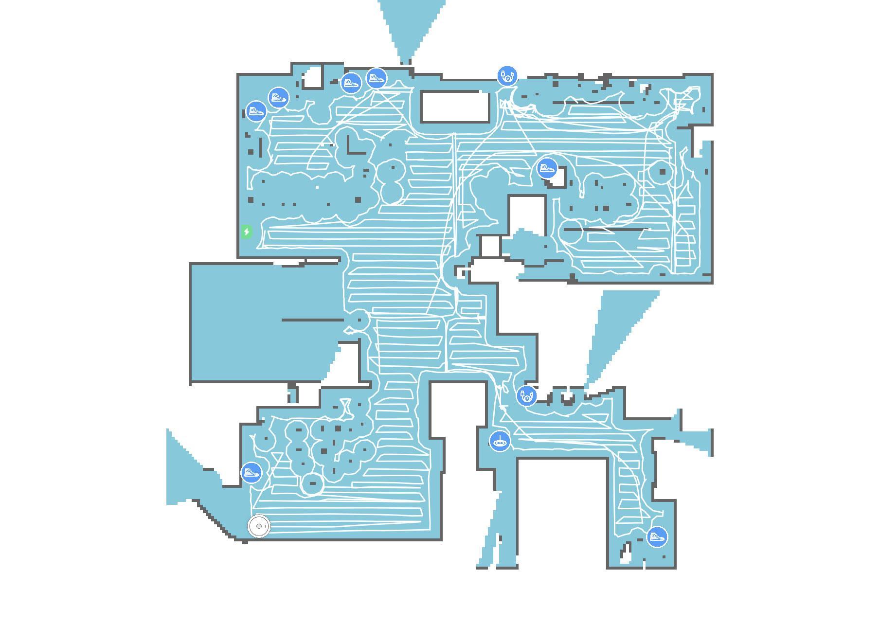 Slik ser det ut etter at S6 MaxV har støvsugd hele etasjen, og merket flere steder med objekter den har identifisert. Se for eksempel kabelikonet i soverommet nede til høyre (en kabel til en vifte), og kabelikonet oppe til høyre i stua (kabler under TV-hyllen).