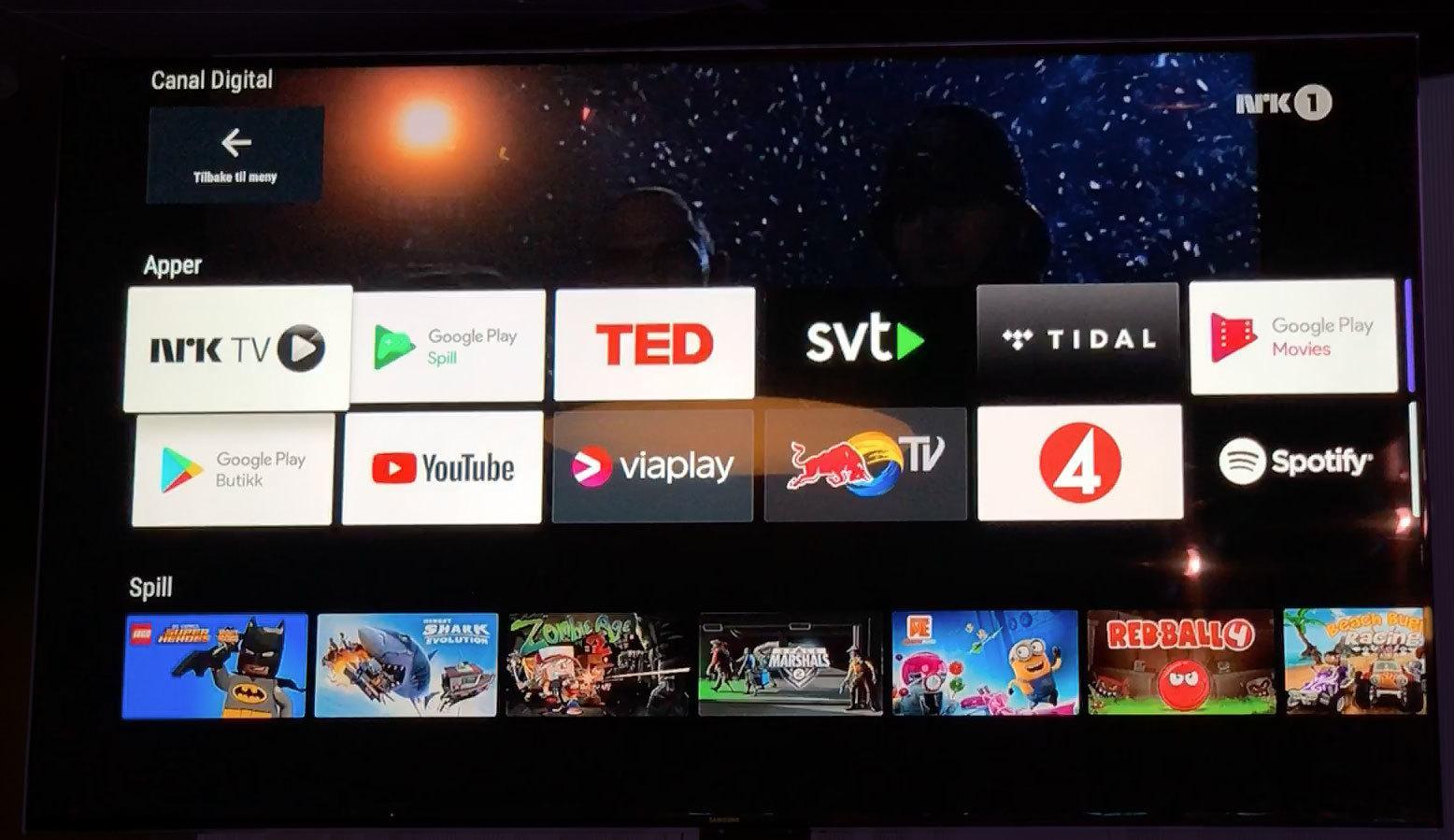 Slik ser Google-området ut, hvor du har tilgang til tredjepartsapper og spill. Netflix er fortsatt ikke tilgjengelig.